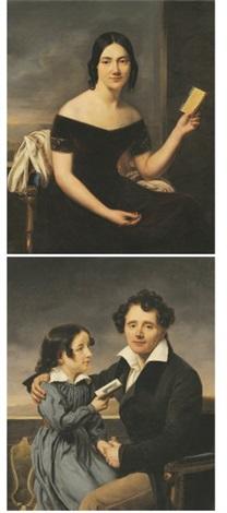 portrait de femme au carnet de bal portrait dun père et sa fille pair by henri françois riesener