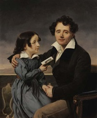 portrait de femme au carnet de bal (+ portrait d'un père et sa fille; 2 works) by henri françois riesener