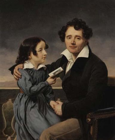 portrait de femme au carnet de bal portrait dun père et sa fille 2 works by henri françois riesener