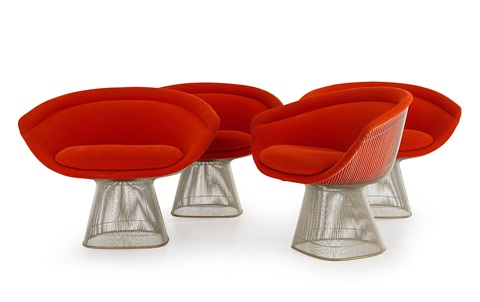 platner armchairs set of 4 by warren platner