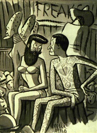 tattooed man and bearded woman arguing by peter arno