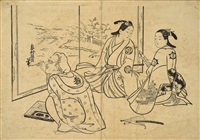 仕女图 (self-portrait of the screen painter in a brothel) by okumura masanobu