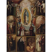 the virgin of guadalupe surrounded by archangels, saints and donors by juan rodríguez juárez