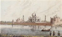 figures by a river with a view of the taj mahal beyond by robert hyde colebrooke