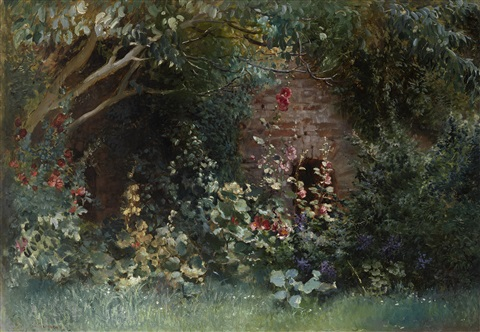 garden in bloom by konstantin egorovich makovsky