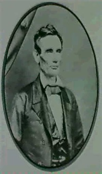portrait of abraham lincoln attributed to roderick m. or  henry h. cole by moses p. rice
