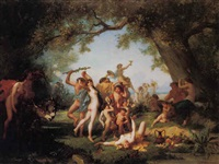 a bacchanal by aime-gabriel-adolphe bourgoin
