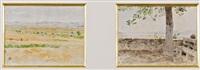 getreidefelder bei ins und bank in ins (2 works) by albert anker