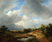 figures in summer landscape by petrus johannes van veen