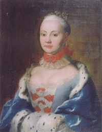 portrait of a noblewoman in a light blue dress with brocade bodice, an ermine-lined blue velvet cape and a muff by johann ludwig strecker