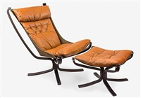 vintage falcon chair and matching ottoman in brown by sigurd ressell