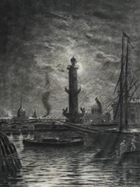 vue nocturne de st. pétersbourg avec une colonne rostrale de l'île vassilievski by aleksei petrovich bogolyubov
