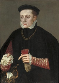 portrait of a gentleman in a black cloak, a red doublet with slashed sleeves, and a black cap by hans ewoutsz