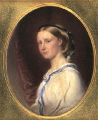 portrait of a lady in blue-trimmed dress by reginald easton