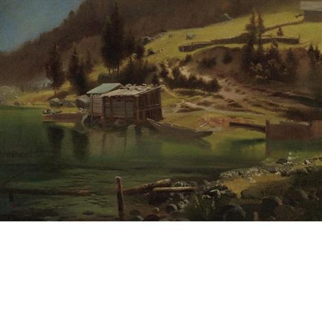 fishing and hunting camp, loring, alaska by albert bierstadt