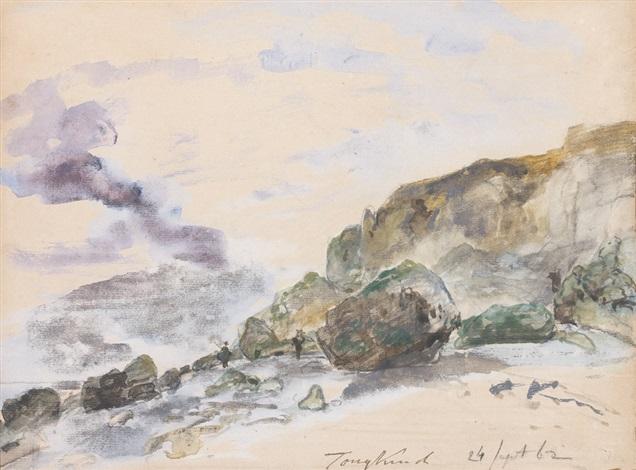 plage en normandie dans les environs detretat by johan barthold jongkind