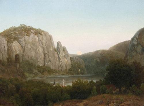 rheinlandschaft mit bergen und burgruine in der abenddämmerung by august lüttmann
