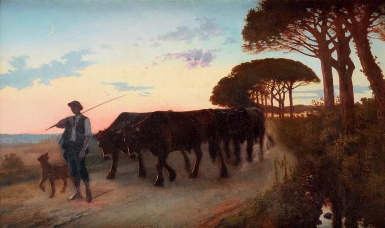 le départ du laboureur à la tombée du jour by armand laroque