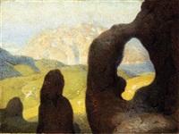 veduta del monte san giorgio col lago di lugano by oreste albertini