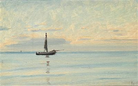 seascape with dinghy calm sea by michael peter ancher