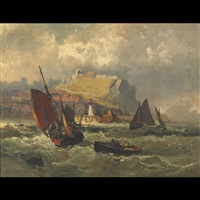 coastal scene with fishing boats in stormy waters by robert ernest roe