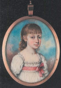 a young girl wearing low-cut white dress with frilled trim and pink ribbon bow, gold pendant earring and her hair cut in a fringe by john bogle