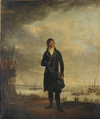 portrait de louis-michel crucy devant un chantiers naval by françois jean (jean françois) sablet