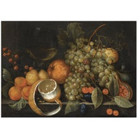 a still life with grapes, oranges, berries, a roemer of wine and partly peeled lemon on a stone ledge by cornelis de bryer