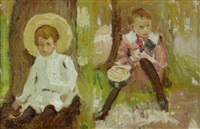 children resting in the shade of a tree by harry mills walcott