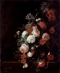 roses, poppies, stalks of grain and other flowers in a glass vase with snails, a moth, spider and butterfly on a stone ledge by david cornelisz heem iii