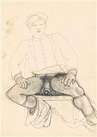 jeune homme assis by jean cocteau