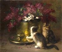 trois chatons jouant autour d'un bouquet de lilas by léon hubert