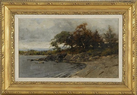 lakeshore landscape with rocks trees and distant hills by lawrence carmichael earle