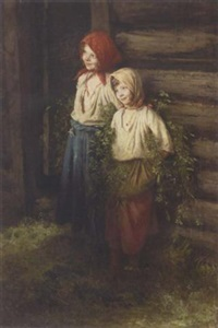 two young peasant girls by kirill vikentevich lemokh