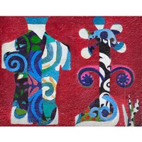 abstract (man and woman) and untitled (blue and red abstract) (2 works) by eileen agar