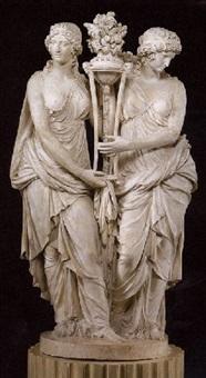groupe representant deux femmes classiques tenant une anthenienne by nicolas francois daniel lhuillier