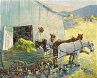 wagon team and barn by selden connor gile