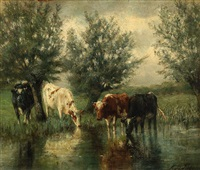 cows by a lake by cornelis willem hoevenaar the younger