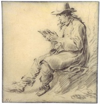 a man in a hat, reading by ary de vois