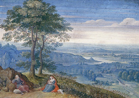 an extensive landscape with the rest on the flight into egypt by lucas van valkenborch