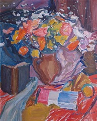 still life with flowers and a book by emile sabouraud