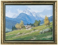 alpen landscape. the peak of wettersteinspitze by ernst carl walter retzlaff