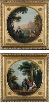 paesaggi ideali con figure ispirate alla pittura classica by carlo labruzzi