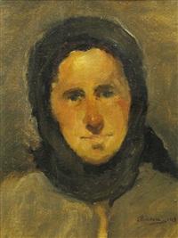 peasant woman with black kerchief by aurel baesu