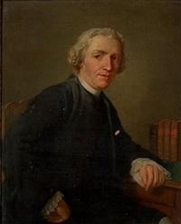 portrait d'homme accoudé sur une table by etienne aubry