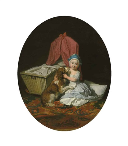 portrait of hester maria thrale queeney 1764 1857 as a child full length in a blue checked dress and white apron and a blue pudding hat by johann joseph zoffany