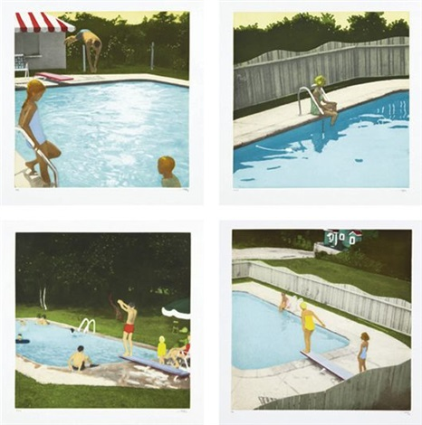 the swimming pool etchings set of 4 by isca greenfield sanders