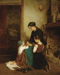 a mother and her two children saying their prayers by charles edouard frère