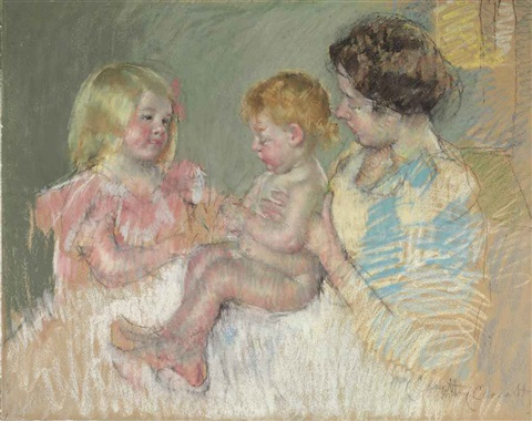 sara and her mother with the baby by mary cassatt