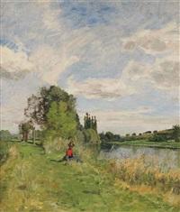 an elegant lady sitting by the riverbank by edmond charles joseph yon
